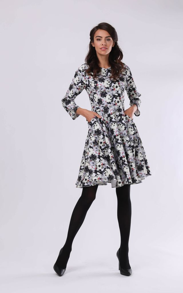 Skater Dress with Long Sleeve in Floral Print by By Ooh La La