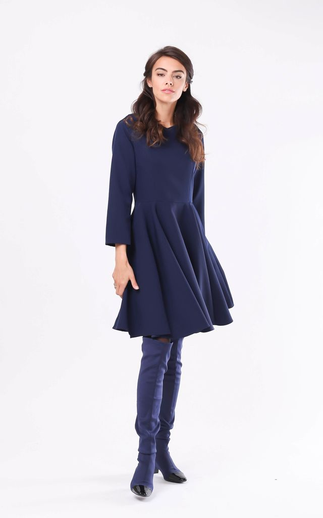Skater Dress with Long Sleeve in Navy Blue by By Ooh La La