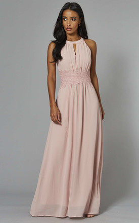 Halterneck Maxi Dress with Lace Waist in Light Pink by VILA