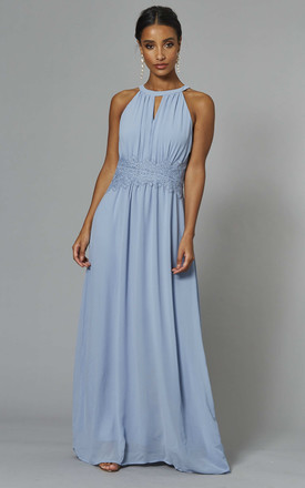 Halterneck Maxi Dress With Lace Waist In Light Blue by VILA Product photo
