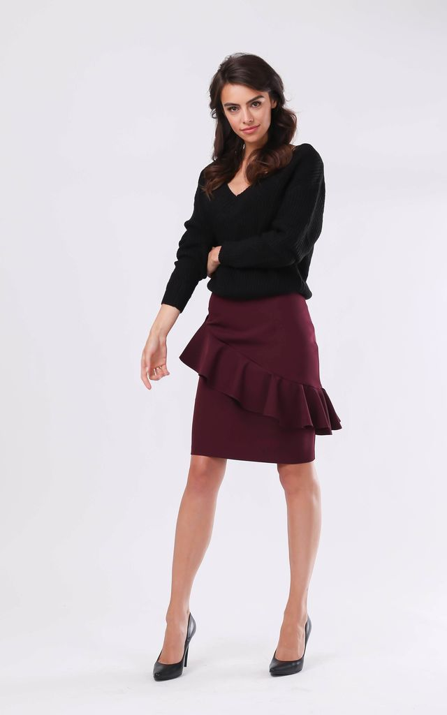 Pencil Skirt with Frill in Maroon by By Ooh La La