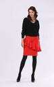 Pencil Skirt with Frill in Red by By Ooh La La