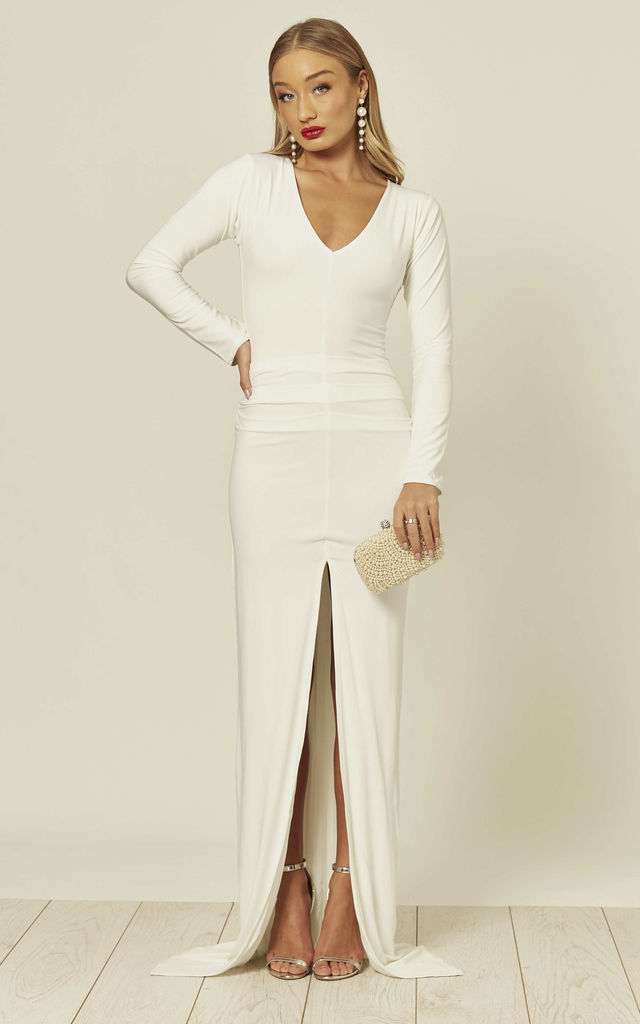 Jessica White Ivory Bodycon Maxi Dress With Front Split by Honor Gold