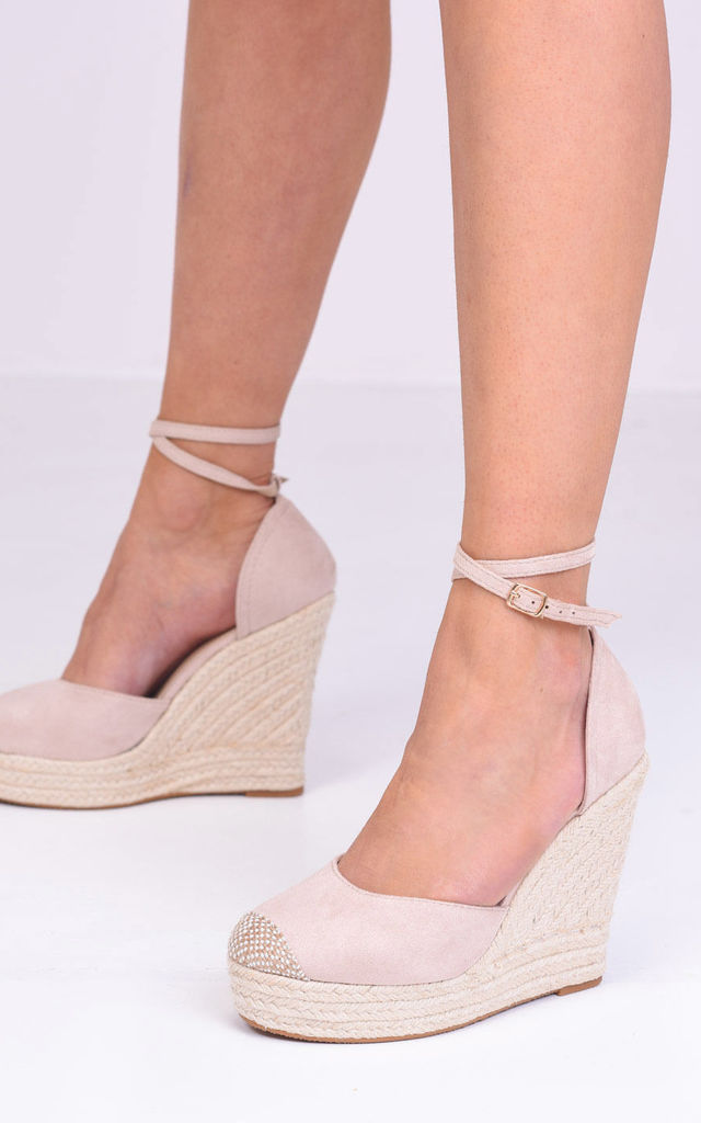 Lace Up Espadrille Wedges in Beige Faux Suede by LILY LULU FASHION
