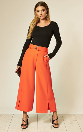 Women's Abi Culotte With Self Belt And Split Detail In Orange by Edie b. Product photo
