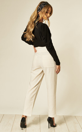 Keera High Waisted Linen Trousers in Cream by Jovonna London