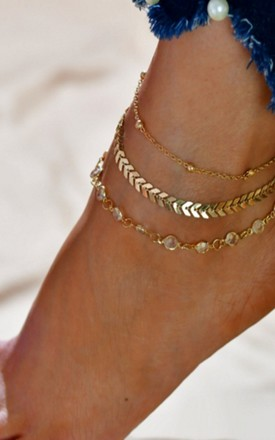 Pack of 3 | Boho Arrow Gold Anklets by GIGILAND