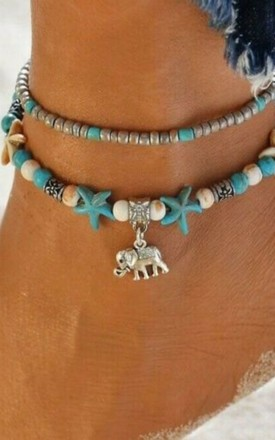 Pack of 2 | Boho Turquoise Elephant Silver Bead Anklets by GIGILAND