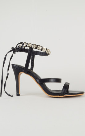 Ankle Tie Studded Heels In Black by LOVEMYSTYLE
