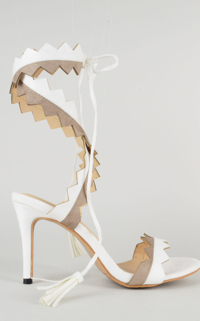 Wrap around Heel Sandals In White & Taupe by LOVEMYSTYLE
