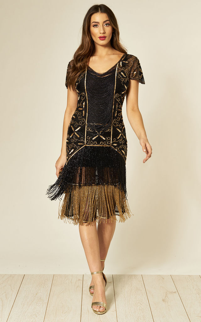 Edith Flapper Fringe Dress in Black Gold by Gatsbylady London