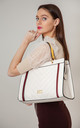 QUILTED TOTE BAG IN BEIGE/MULTICOLOUR by BESSIE LONDON