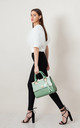 CROC FLAP OVER TASSEL TOTE BAG IN GREEN by BESSIE LONDON
