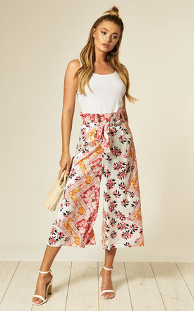 Wide Leg Cropped Trousers in White Floral Print by Stardust + Steel