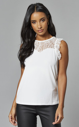 Sleeveless Lace Detail Top In White by VM Product photo