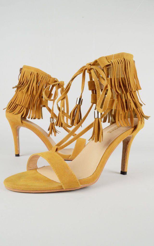 Suede Ankle Lace Heels with Fringing In Brown by LOVEMYSTYLE