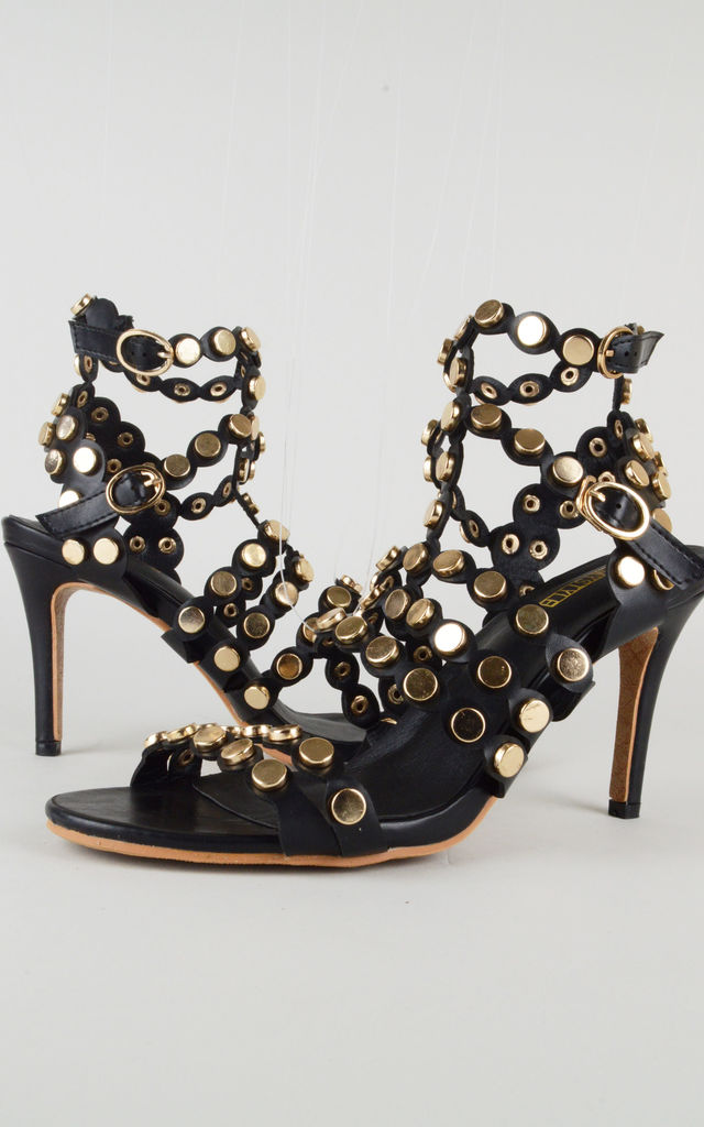 Black Heeled Sandals With All Over Gold Studs by LOVEMYSTYLE