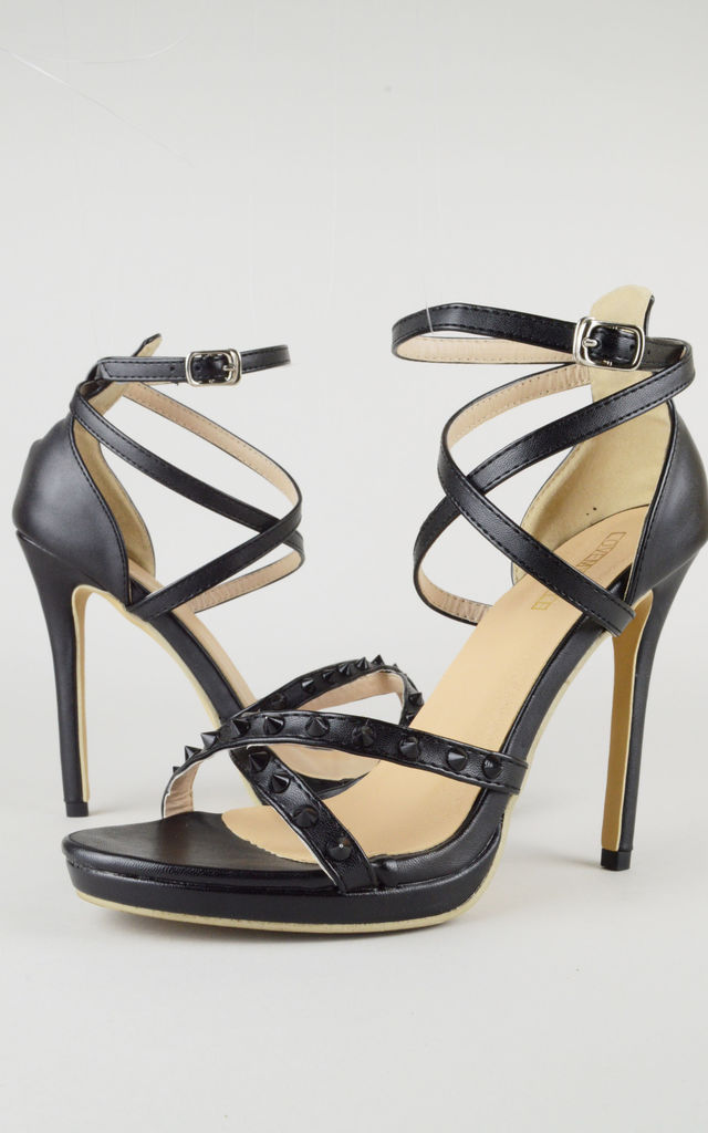 Black Double Strap Studded Heeled Sandals by LOVEMYSTYLE