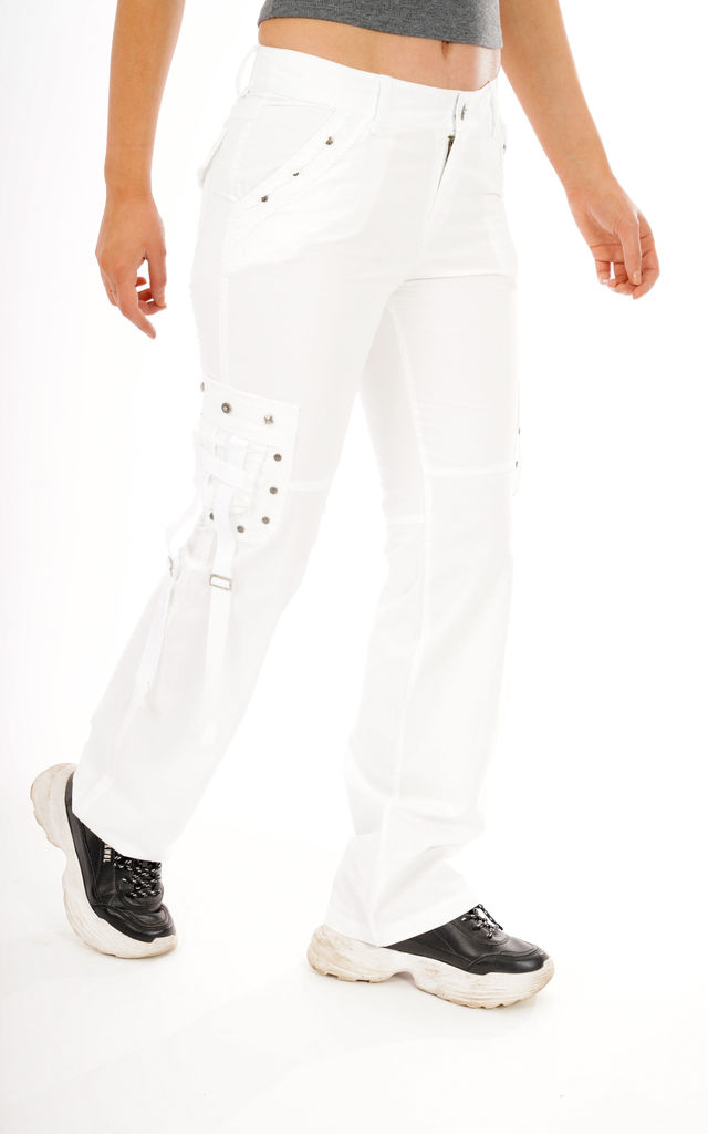 White Lightweight Cotton Cargo Trousers by Glamour Outfitters