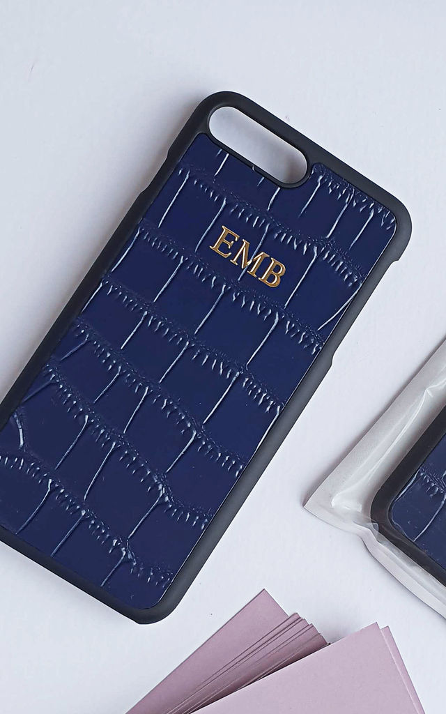 Monogram Phone Case in Navy Croc Effect Leather by Rianna Phillips