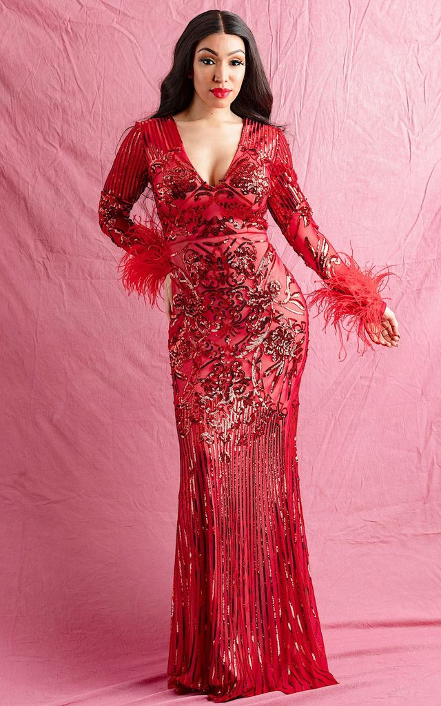 AMADARA SEQUIN MAXI DRESS IN RED by IVY EKONG FASHION