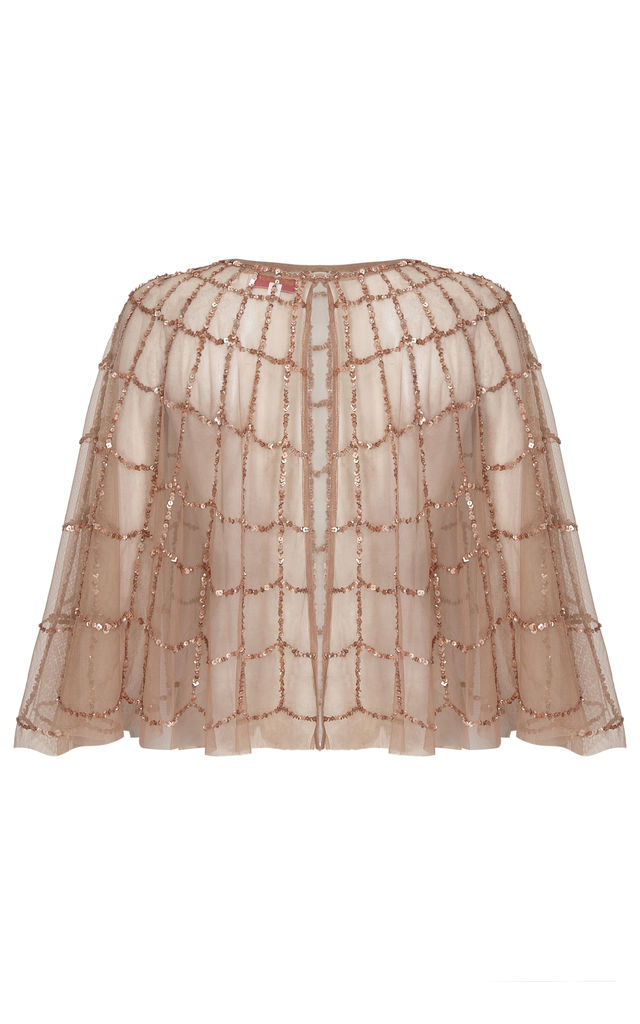 Sophie Embellished Cape in Rose Pink by Gatsbylady London