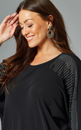 PENELOPE Curve Diamante Detail Top In Black by Blue Vanilla