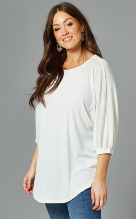 PENELOPE Curve Diamante Detail Top In White by Blue Vanilla