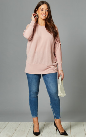 ELOUISE Curve Pink Long Sleeve Top with Mesh Shoulders by Blue Vanilla