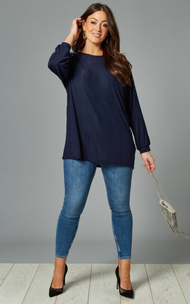 MONICA Curve Bar Back Embellished Tunic in Navy by Blue Vanilla