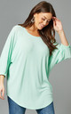 PENELOPE Curve Diamante Detail Top In Mint by Blue Vanilla