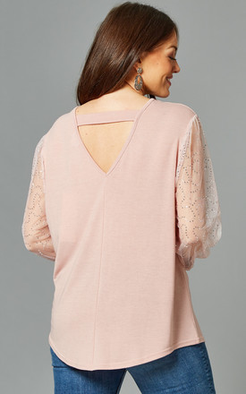 MADELEINE Curve Pink Balloon Sleeve Top with Bar Back by Blue Vanilla