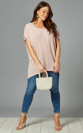 ELINA Curve Oversized Diamante Top In Pink by Blue Vanilla