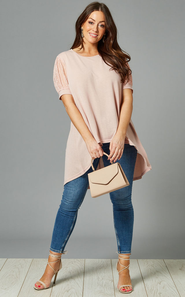 ESME Curve Lace Sleeve Tshirt In Pink by Blue Vanilla