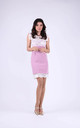 Wedding Sleeveless Mini Lace Dress in Pink by Bergamo