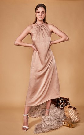 Isla Satin Maxi Dress In Oyster Neutral by COCOOVE Product photo