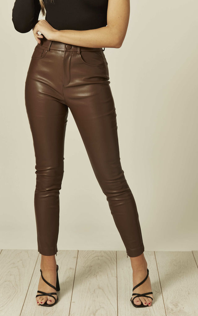 The Cheshire Chocolate Pants/ Jeans in Faux Leather by Brunch Club Girls.