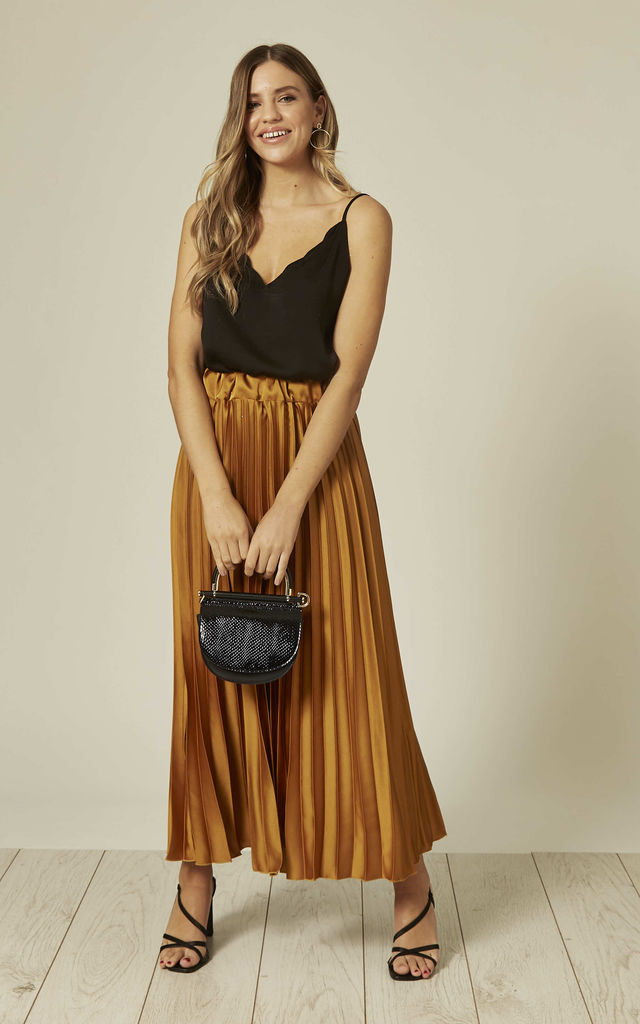 Satin Pleated Maxi Skirt in Mustard by The ModestMe Collection
