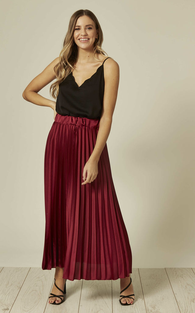 Satin Pleated Maxi Skirt in Wine by The ModestMe Collection