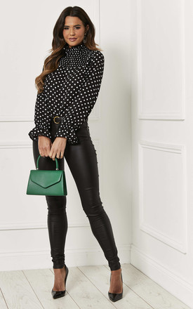 Shirred Blouse In Black Polka Dot by Bella and Blue Product photo