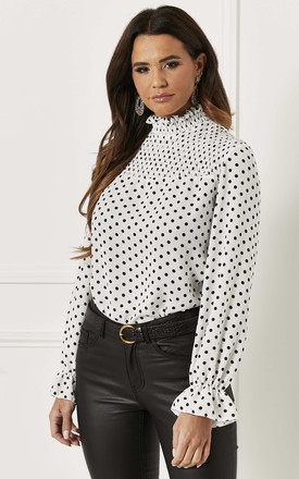 Shirred Blouse In White Polka Dot by Bella and Blue Product photo