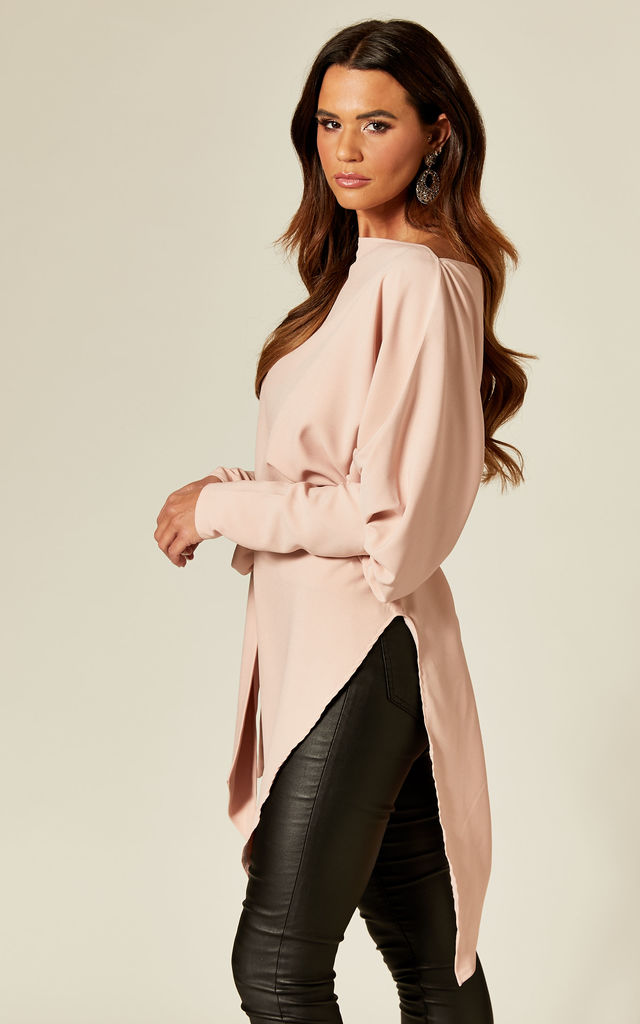 Emy Long Sleeve Asymmetric Top in Baby Pink by Rag & Doll