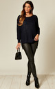 Distressed Knit Jumper in Navy by Suzy D