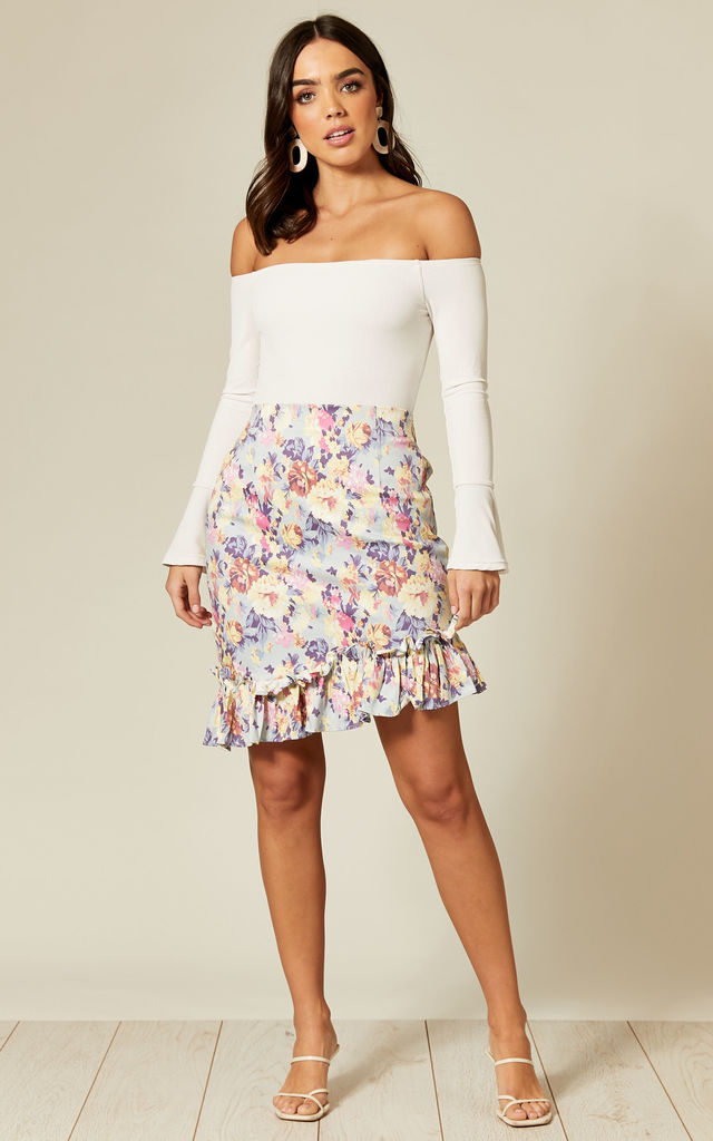 Ruffle Hem Mini Skirt in White & Pink Floral Print by Twist and Turn
