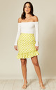Ruffle Hem Mini Skirt in Yellow Polka Dot by Twist and Turn