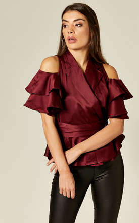 Cold Shoulder Ruffle Wrap Top In Burgundy by Twist and Turn Product photo