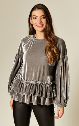 Grey Velvet Long Sleeve Top With Ruffle Hem by Twist and Turn Product photo