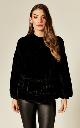 Black Velvet Long Sleeve Top With Ruffle Hem by Twist and Turn Product photo