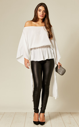 Off Shoulder Batwing High Low Top In White by Twist and Turn Product photo