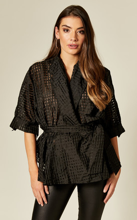 Organza Wrap Top In Black Check by Twist and Turn Product photo